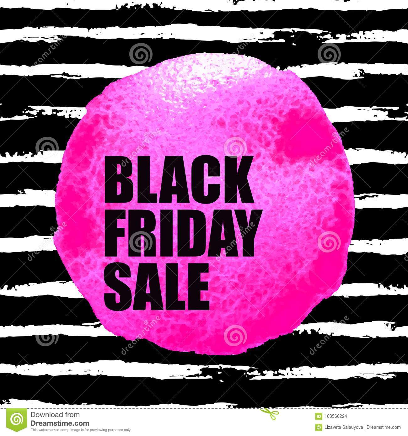 ffdb0c26a51 Vector illustration of Black Friday Sale banner with pink watercolor spot  on dark watercolor brush stroke background. Inscription design template.