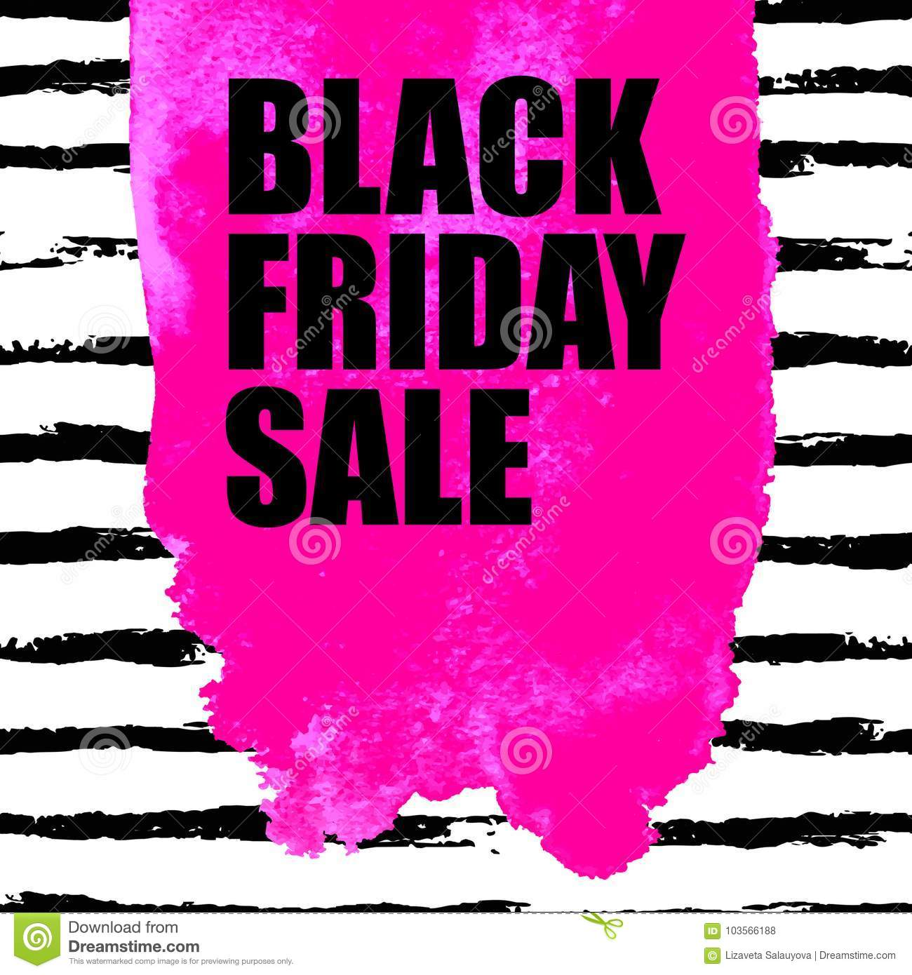 43aef9efa2a Vector illustration of Black Friday Sale banner with pink watercolor spot  on watercolor brush stroke background. Inscription design template.