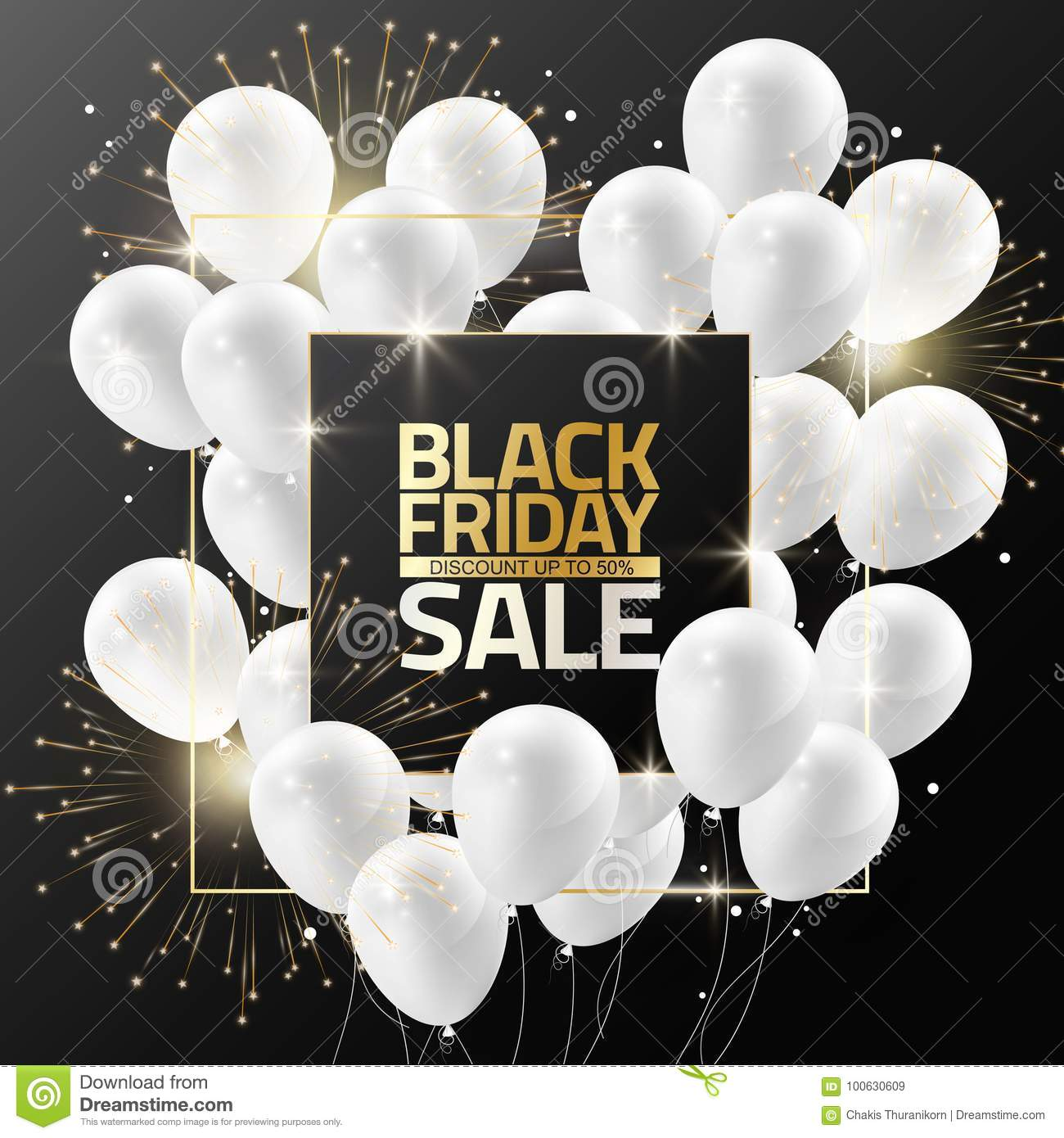 Black Friday sale on black frame with white balloons and firework for design template banner, Vector illustration