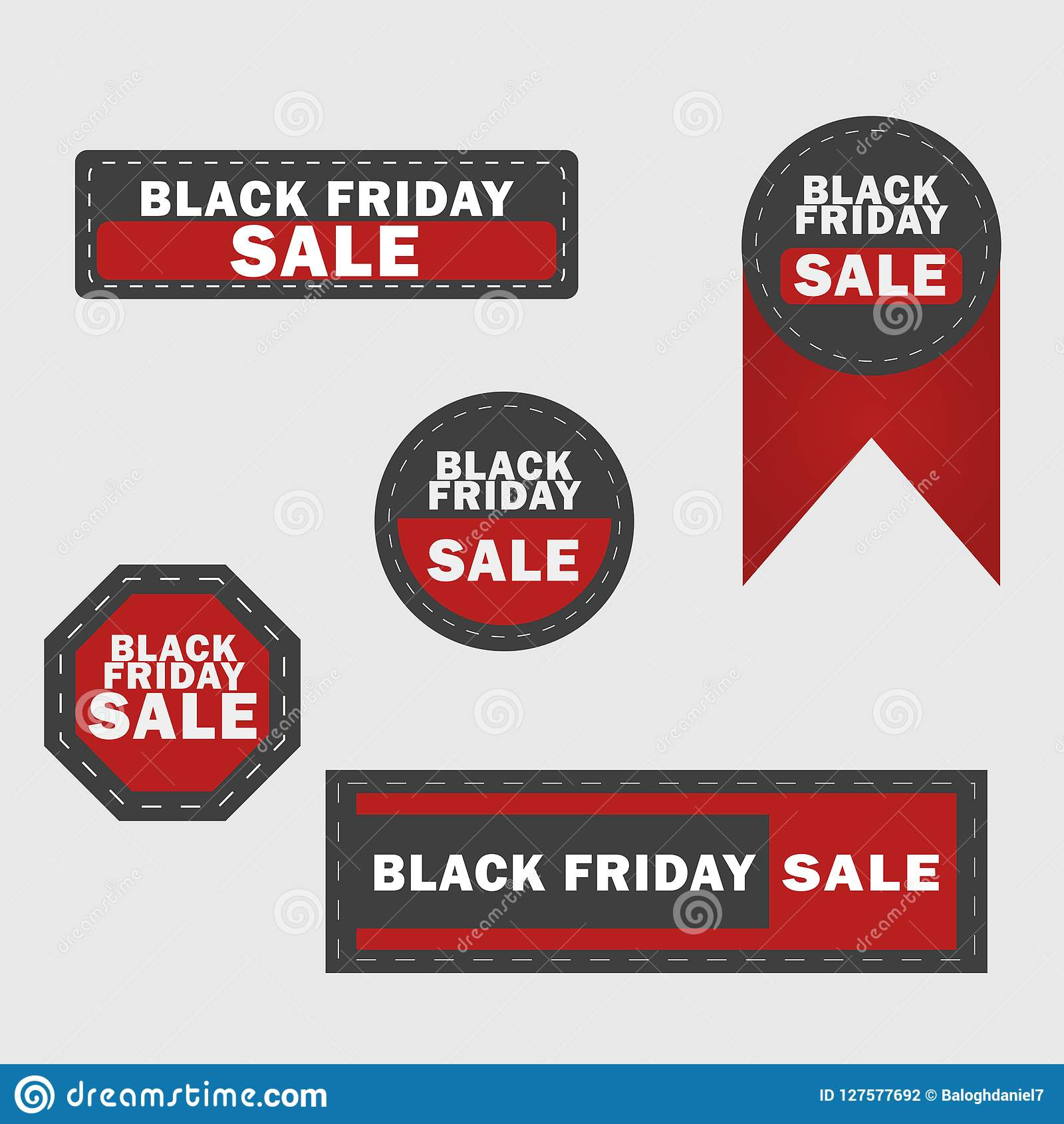 Black Friday sale design elements. Black Friday sale inscription labels, stickers. Vector illustration.