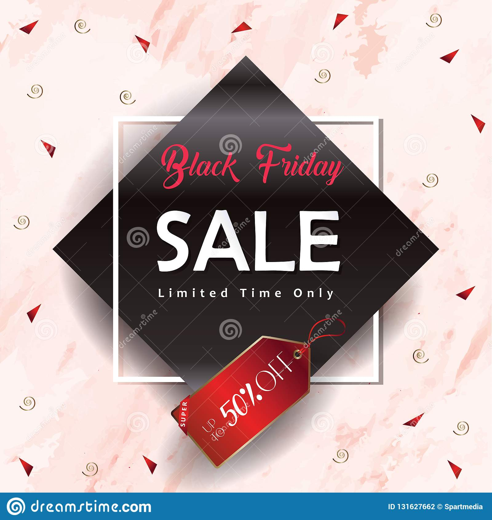 5ce413ae2d Black Friday Sale Discount banner with gold geometric frames
