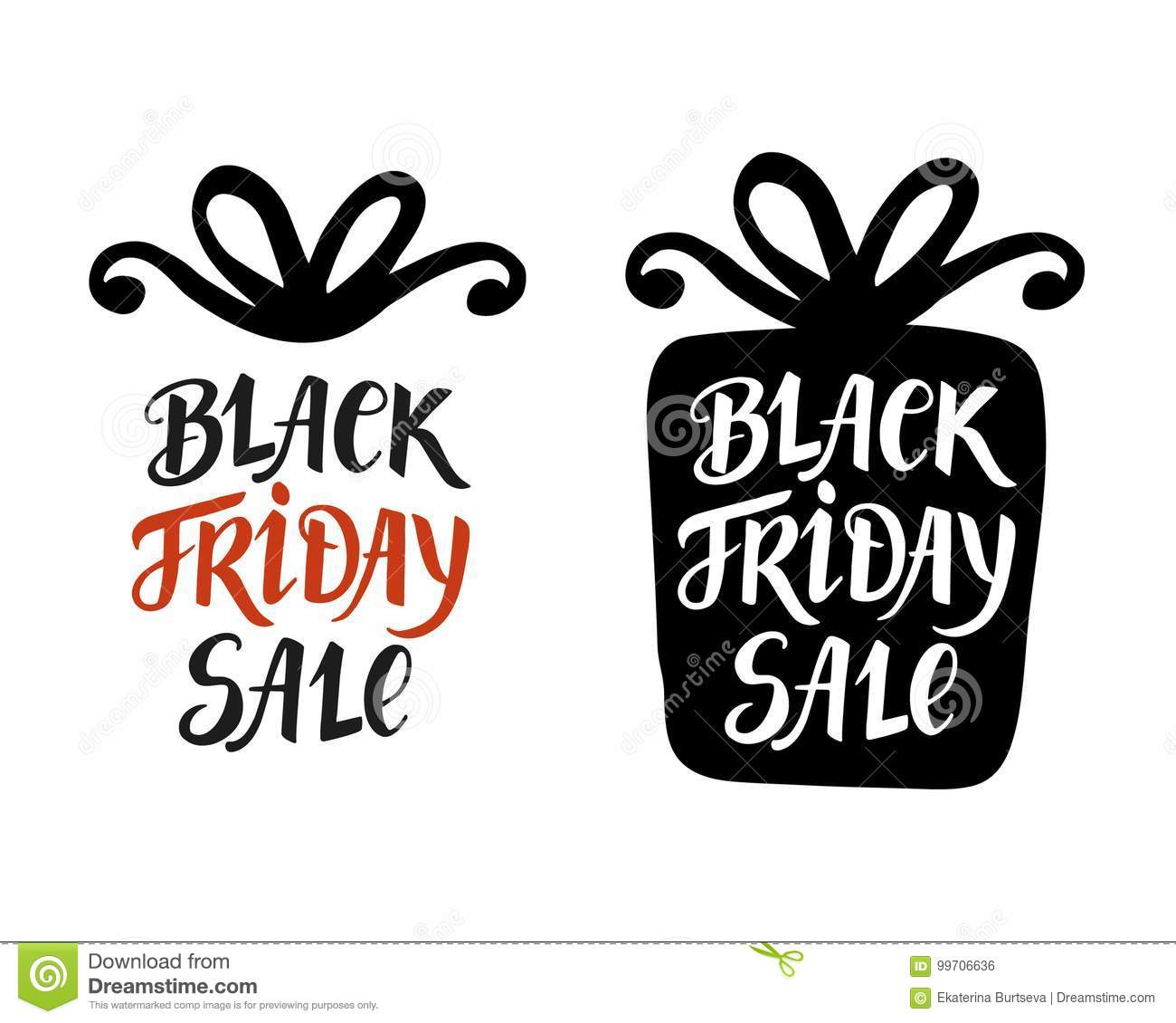 download black friday sale lettering inscription in gift box modern banner stock vector