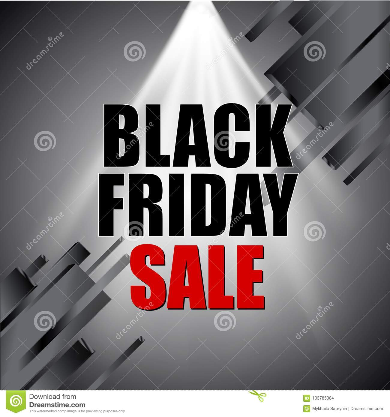 Black friday sale with light effect and abstract elements on silver background. Vector illustration.