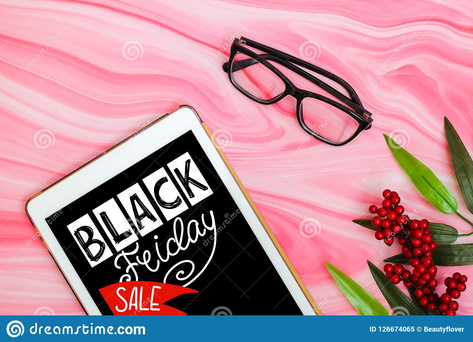 Black Friday Sale Minimal Flat Lay With Tablet Plants And Glasses On Pink Marble Background Top View Stock Image Image Of Object Office 126674065