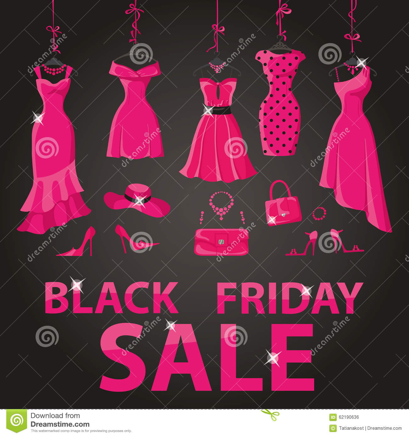 424ed824c0f Black friday Big Sale.Pink party dresses hanging on the ribbon with  accessories and title.Typographic design