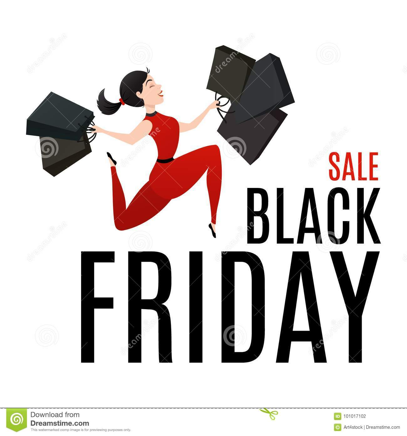 Black Friday Sale Poster With Happy Customer Stock Vector Illustration Of Isolated Card 101017102