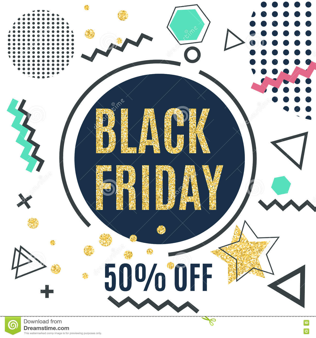 Black Friday Sale Poster in Memphis Style with Trendy Glittering Geometric Elements. Vector illustration.