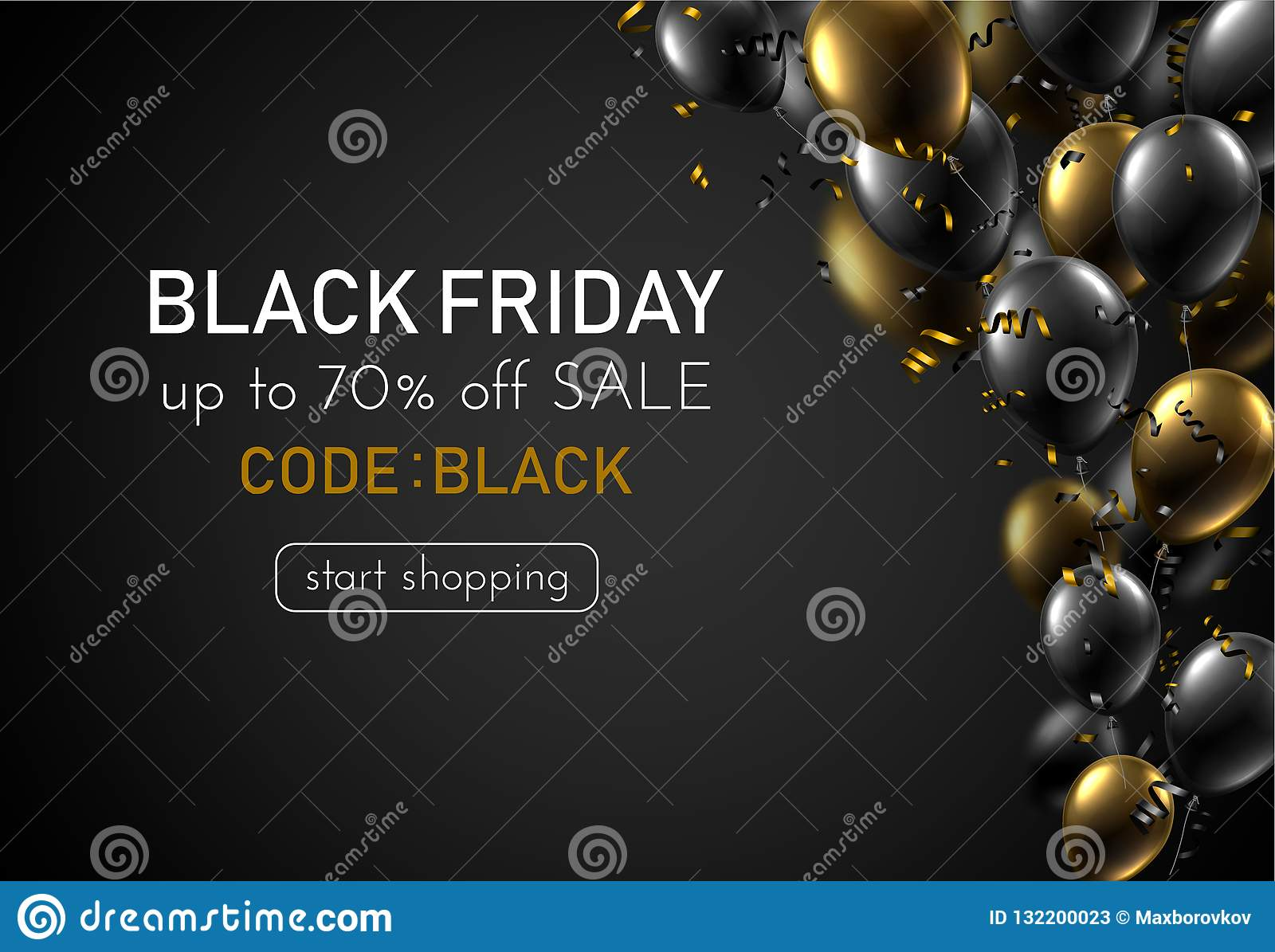 Black Friday Sale Promotion Poster With Shiny Balloons And