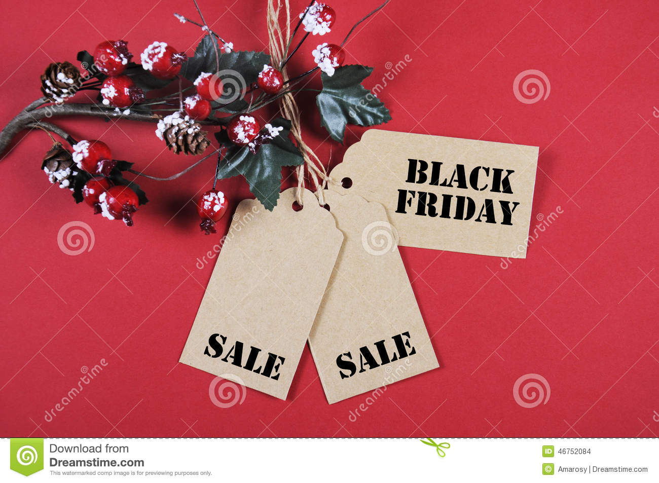 Black Friday Christmas Decorations.Black Friday Sale Tags With Christmas Decorations Stock