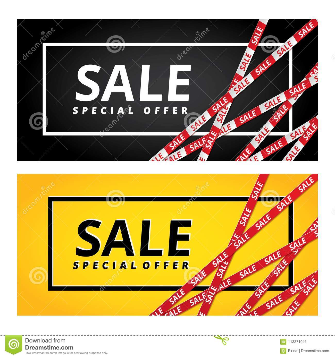 4750c508a0 Black friday Yellow sale tape ribbon card background. Special offer red  tape poster