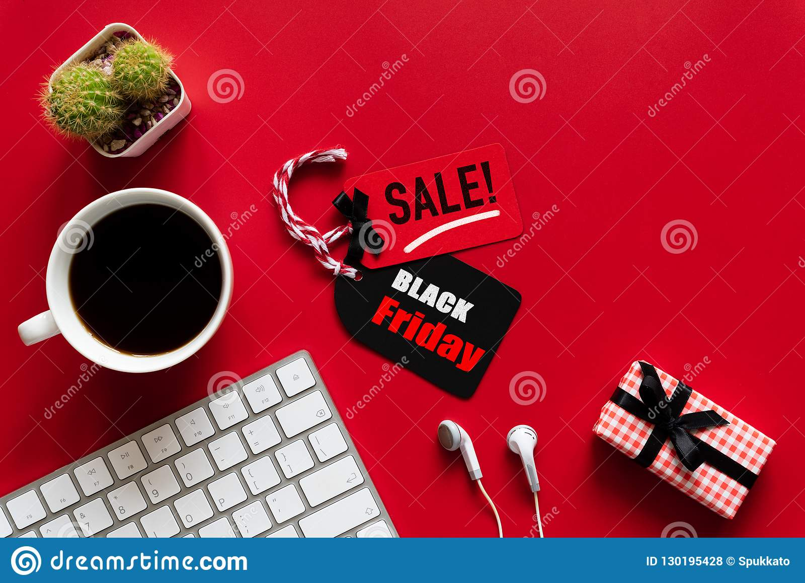 d56382fc5b Black Friday Sale Text On A Red And Black Tag With Coffee Cup Stock ...