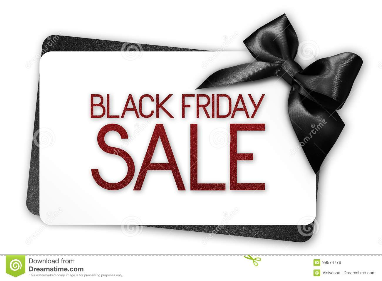 Black Friday sale text write on white gift card with black ribbon bow