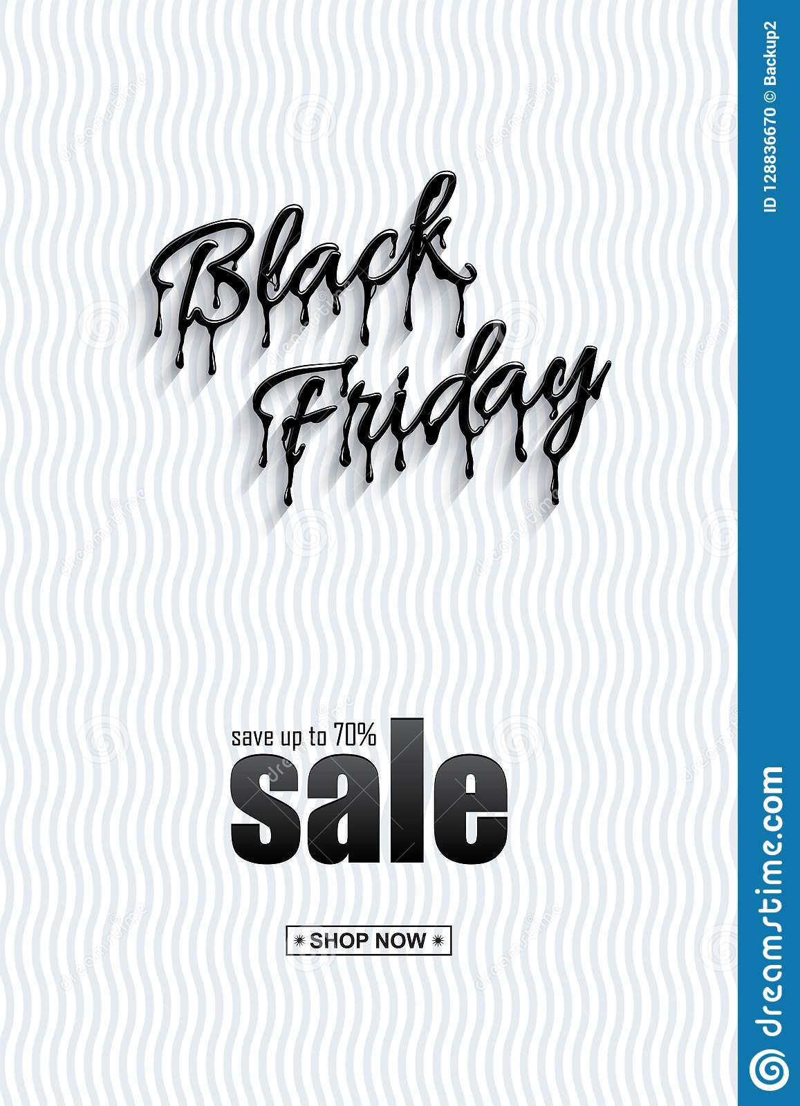 Black Friday Sale vertical design template. Realistic Black Friday 3d lettering with black liquid droplets