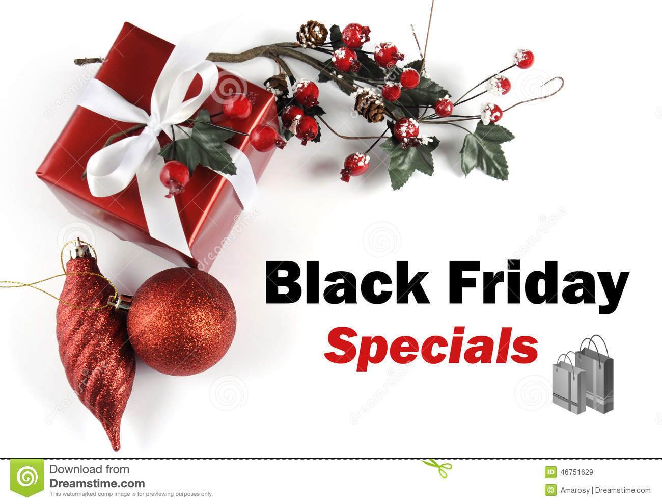 black friday specials sale message greeting with christmas decorations