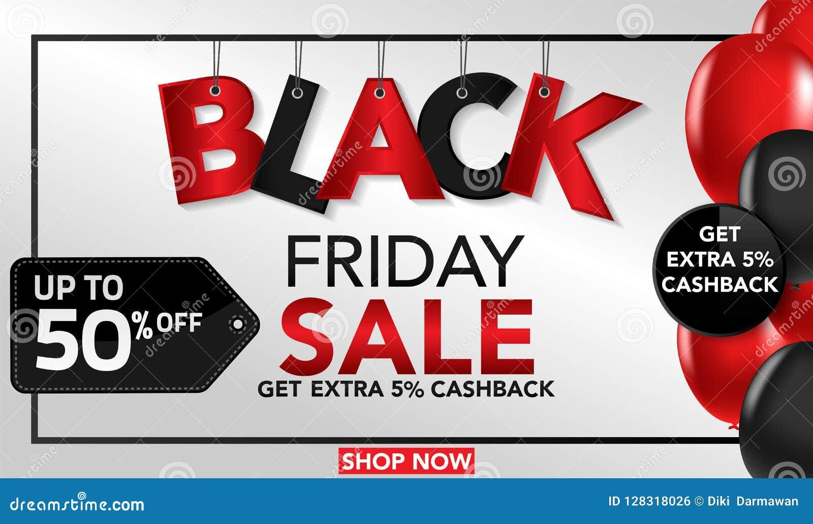 Black Friday sprzedaży sztandaru szablonu tło z ballons i conffeti czerwonymi i czarnymi Specjalna oferta końcówka sezon, szablon