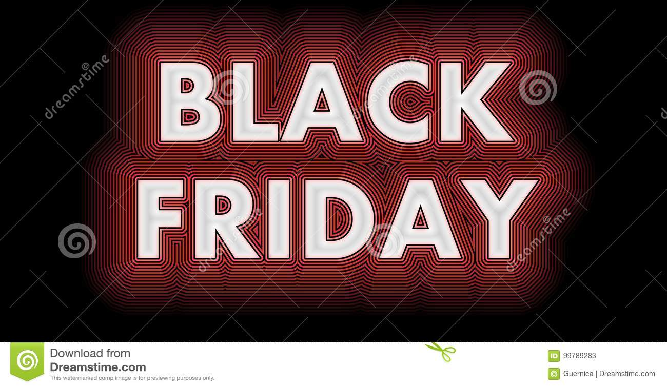Black Friday sign in white glossy