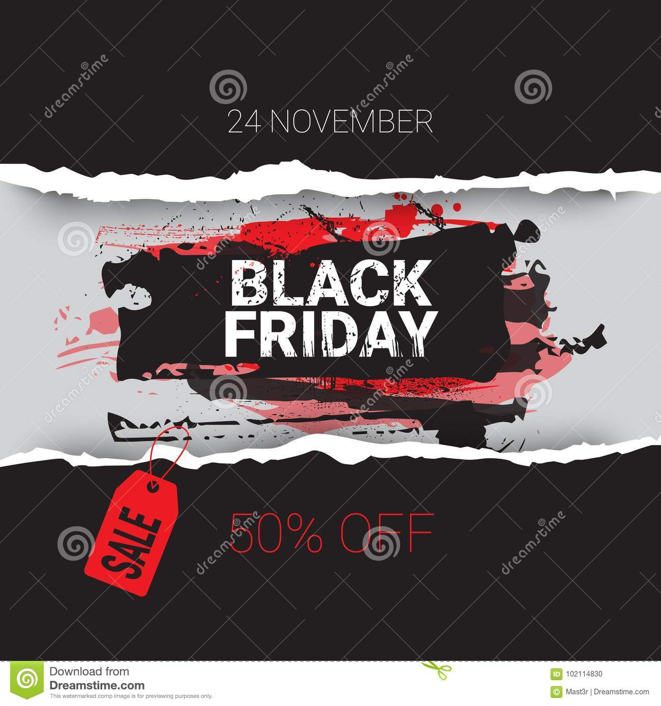 Black Friday Torn Curved Wrapped Paper 24 November Sale With Red Tag Banner Shopping Discount Concept