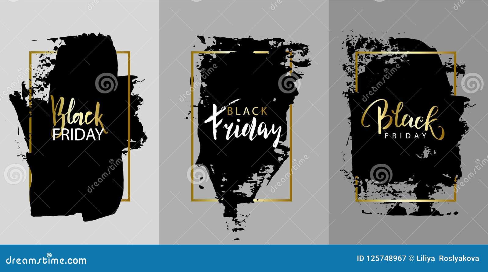 Black Friday.Vector black paint, ink brush stroke, brush, line or texture. Texture artistic design element, box, frame