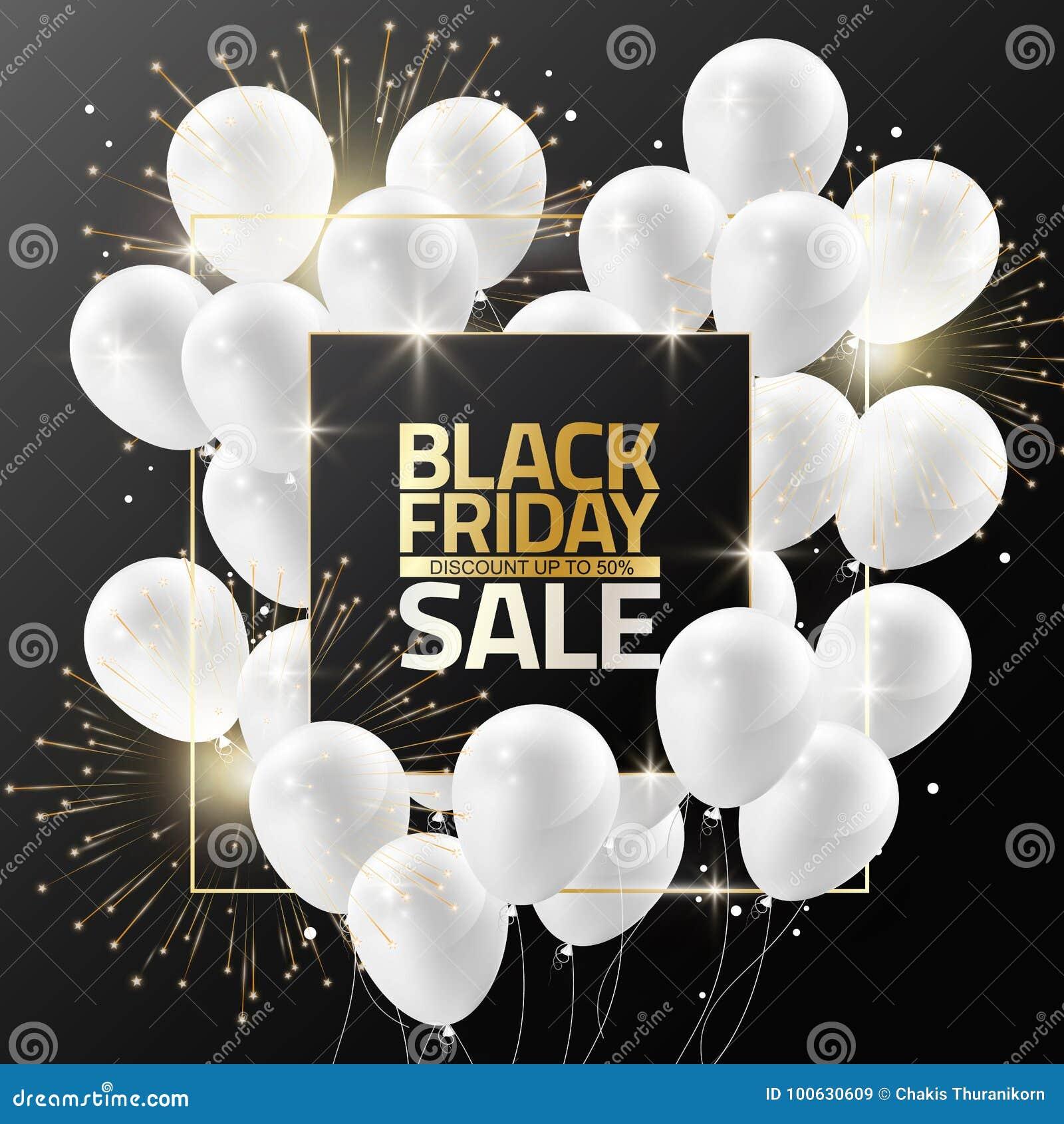 Black Friday-Verkauf auf schwarzem Rahmen mit weißen Ballonen und Feuerwerk für Designschablonenfahne, Vektorillustration