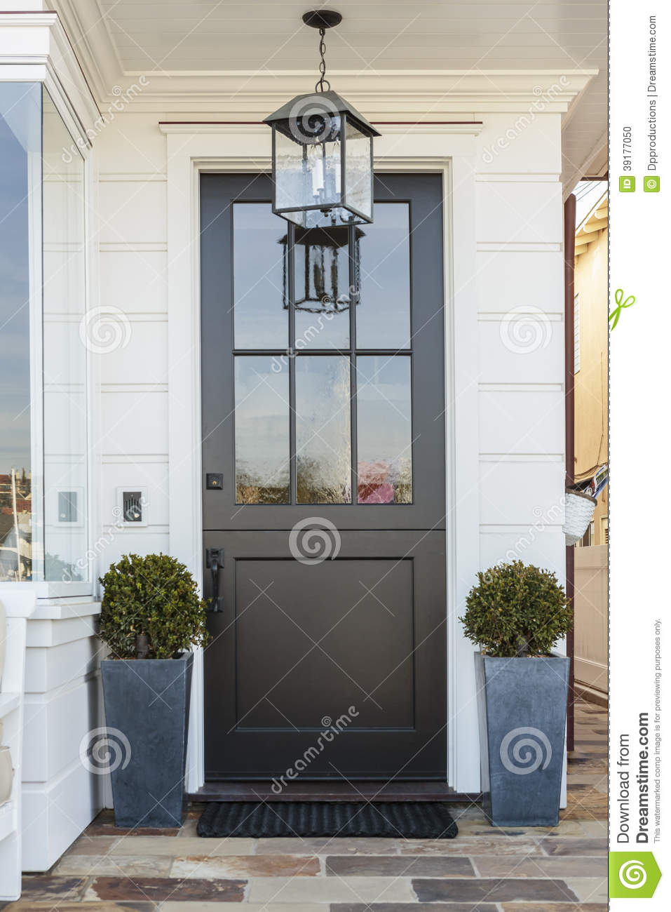 Black Front Door Framed By Plants Stock Photo Image Of Blue
