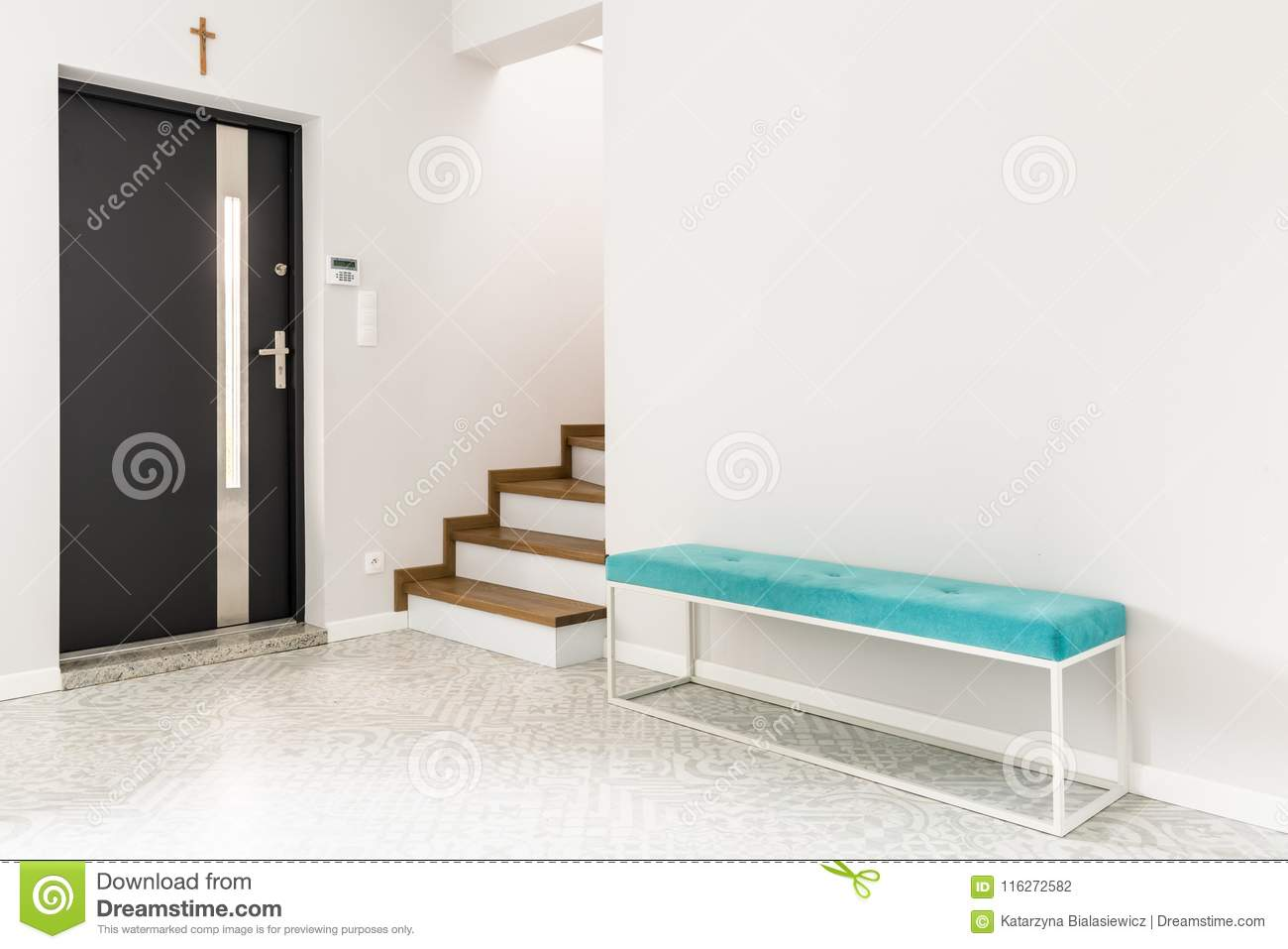 White Entrance Interior With Bench Stock Photo Image Of Design Lock 116272582