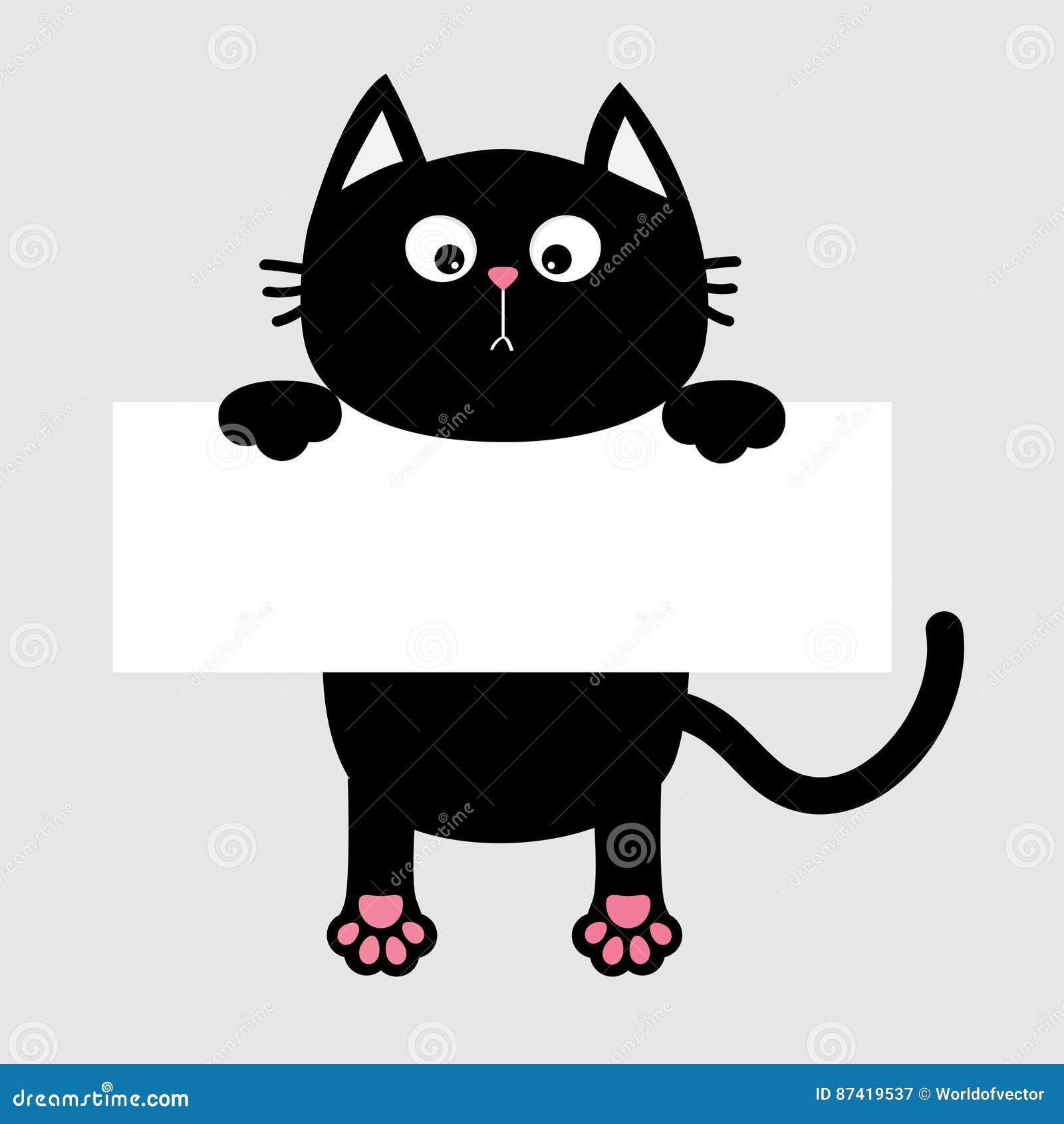 black funny cat hanging on paper board template kitten Heart Paw Print Clip Art Blue Cat Paw Print Clip Art