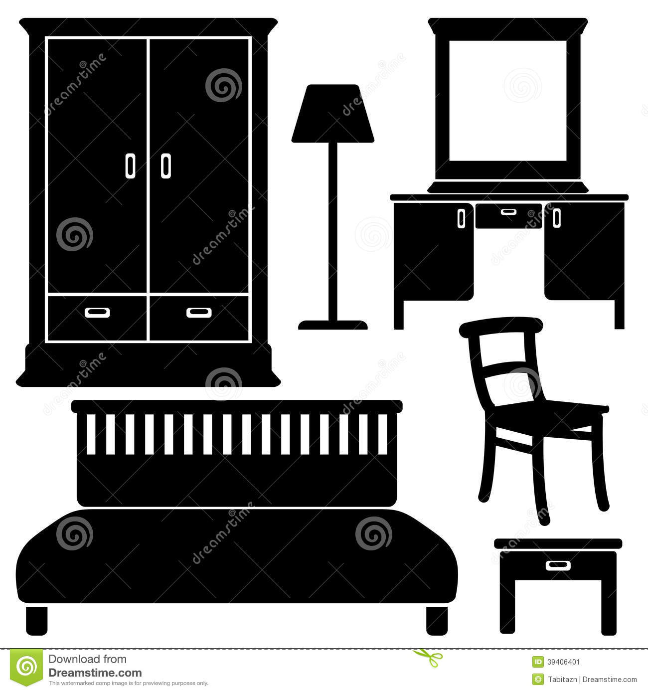 Bedroom Interior Design Set Furniture Vector ~ Black furniture icons bedroom set stock vector