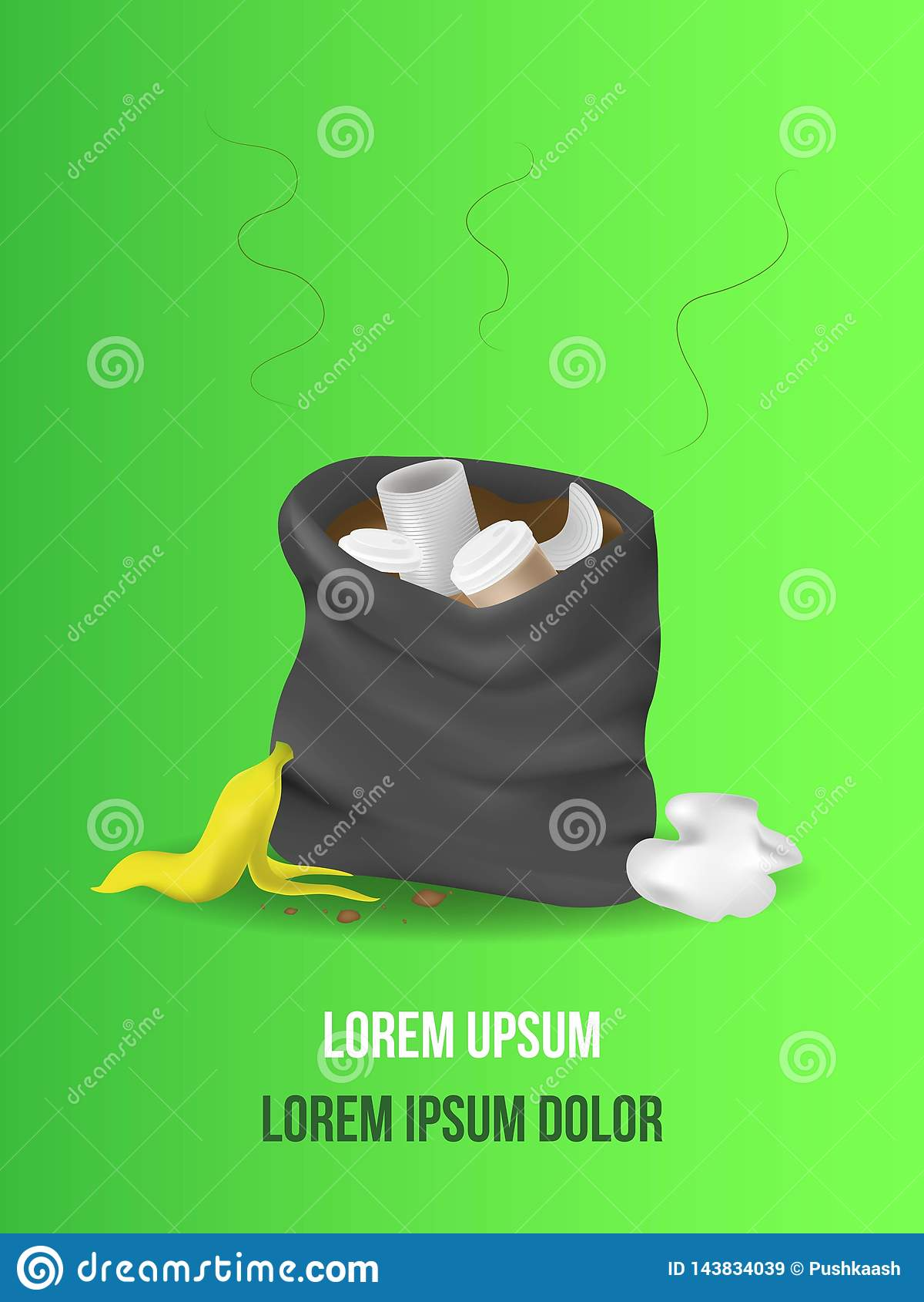 Black garbage bag open. sack Rubbish. sackful trash. litter. peel from banana, metal can, crumpled paper, paper cup