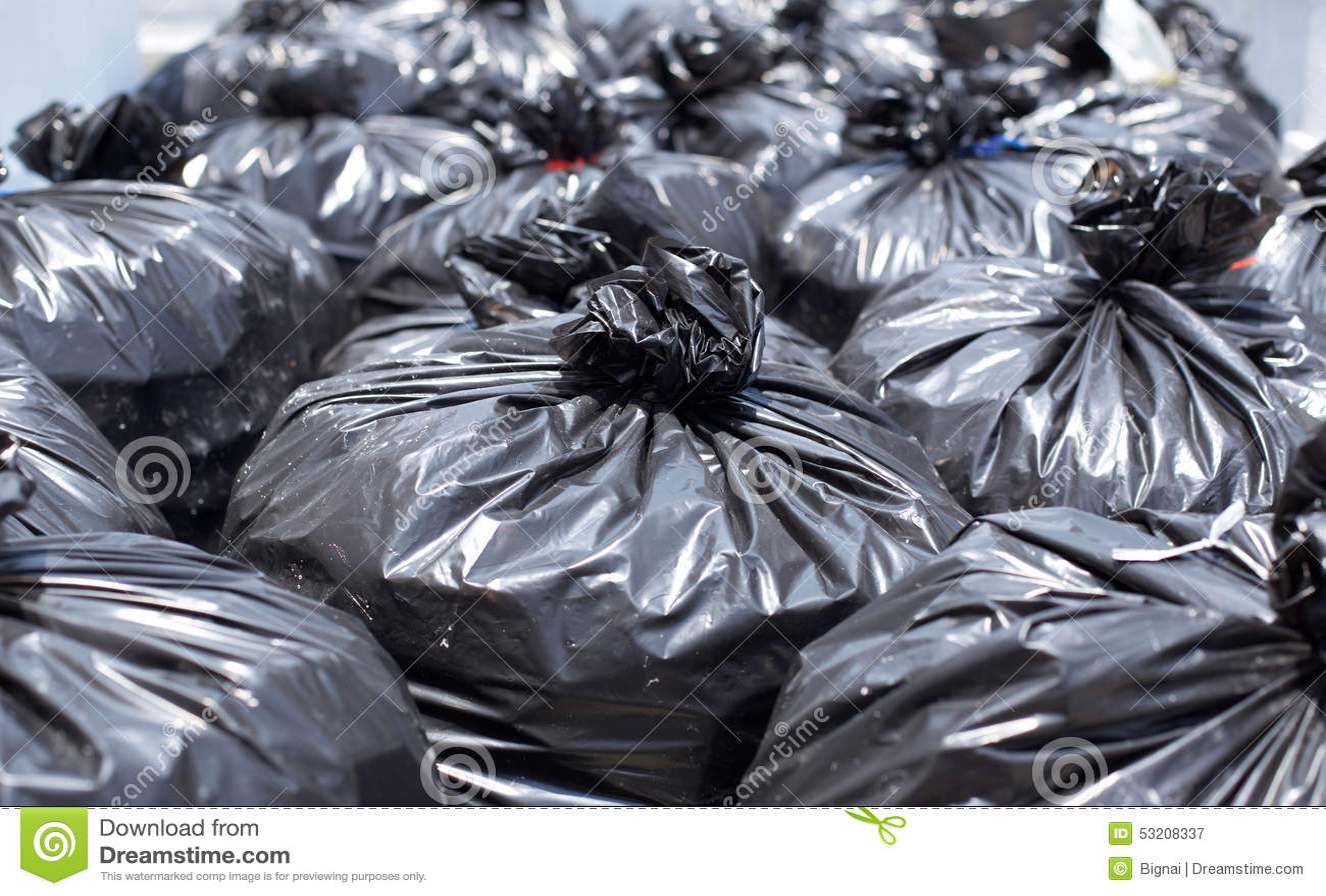 Black Garbage Bag On The Street Stock Image - Image: 53208337