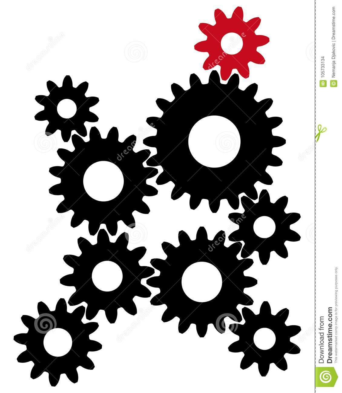 Black Gears With Red Leader Stock Illustration Illustration Of