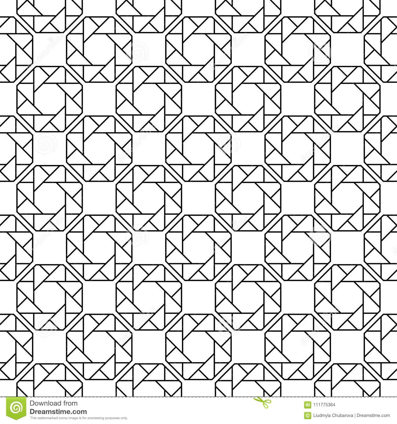 Black geometric ornament on white background. Seamless pattern