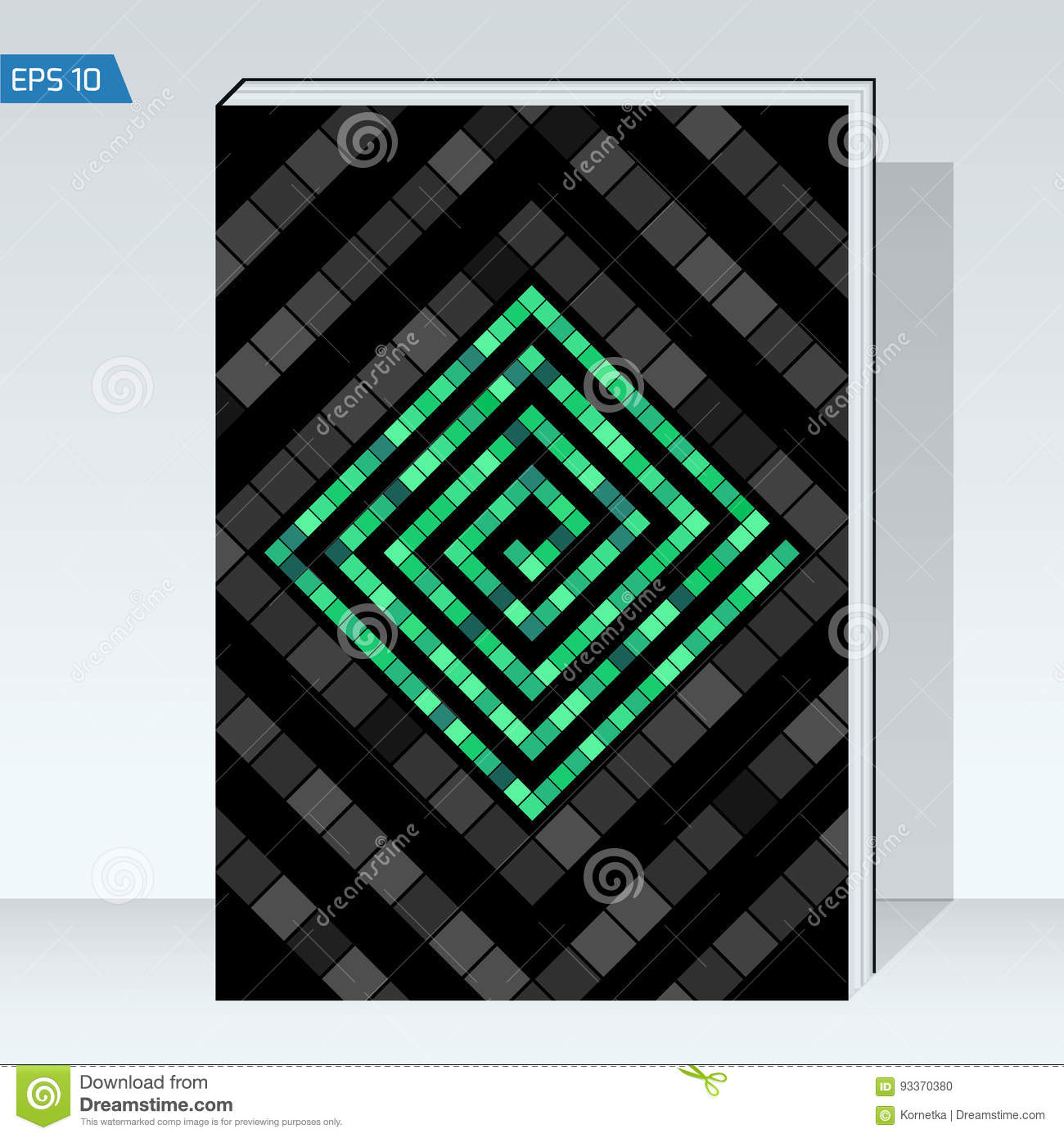 Black geometry design Cover brochure. color maze of cubes, geometry backgrounds.