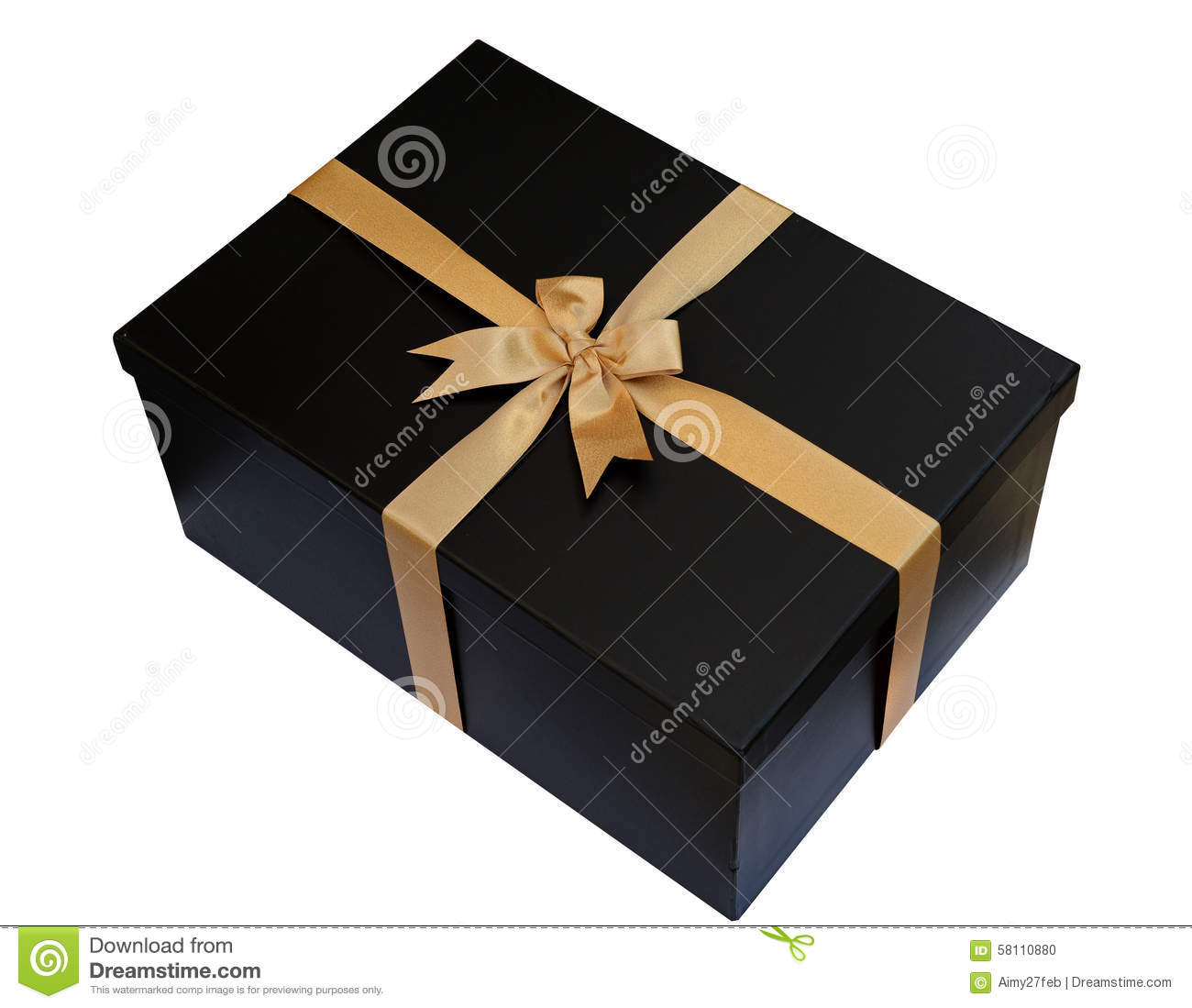 black gift box with gold ribbon and bow isolated on white clipping
