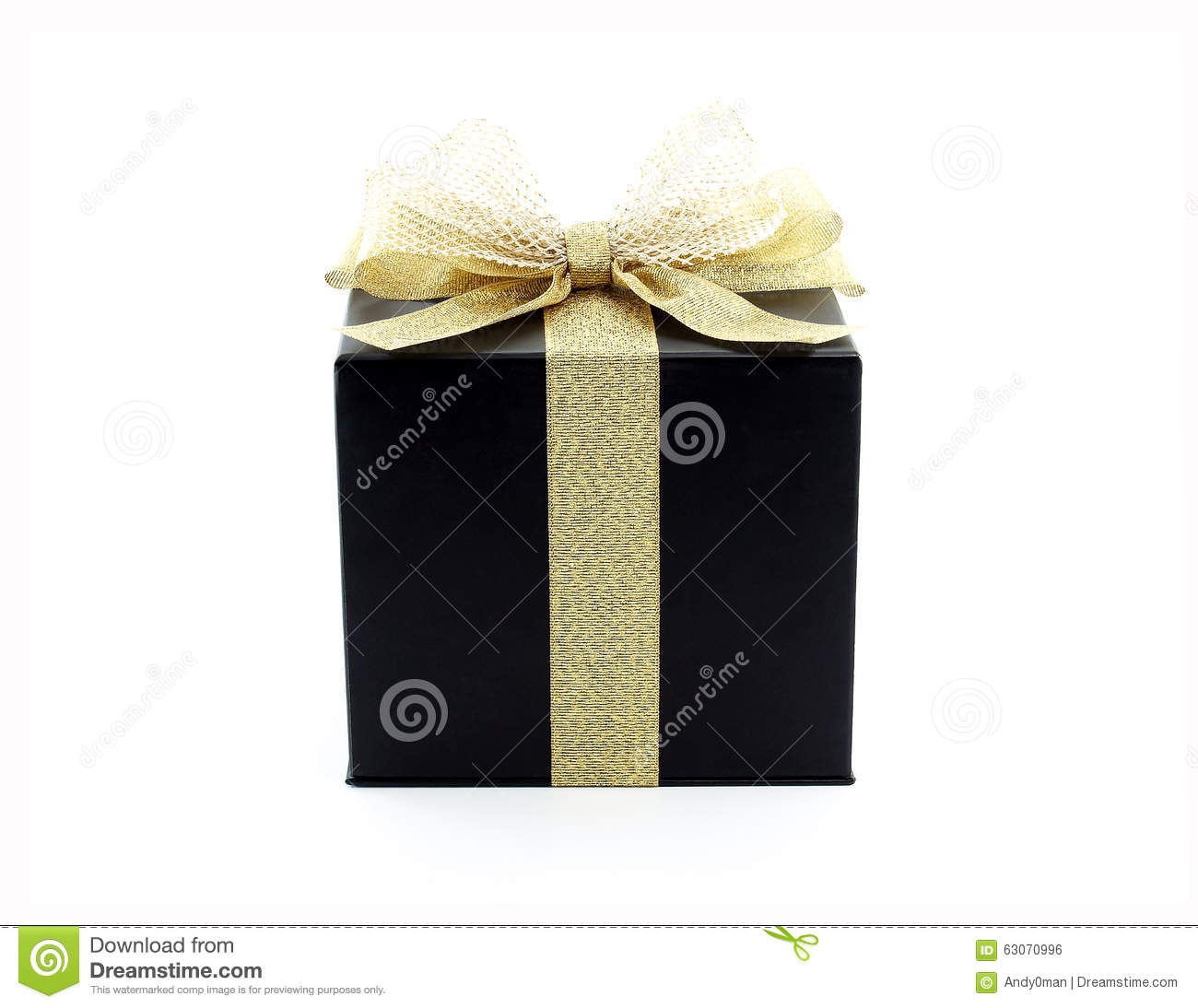 Black Gift Box With Gold Ribbon Stock Photo - Image: 63070996
