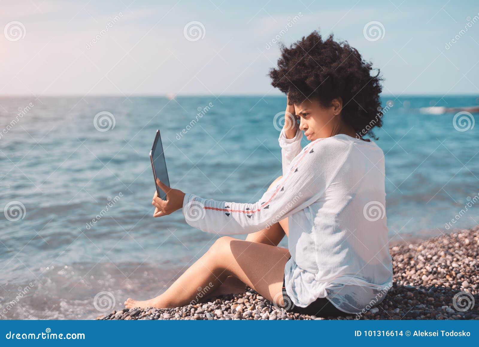 Black Girl On The Beach Taking Selfie Stock Photo Image Of