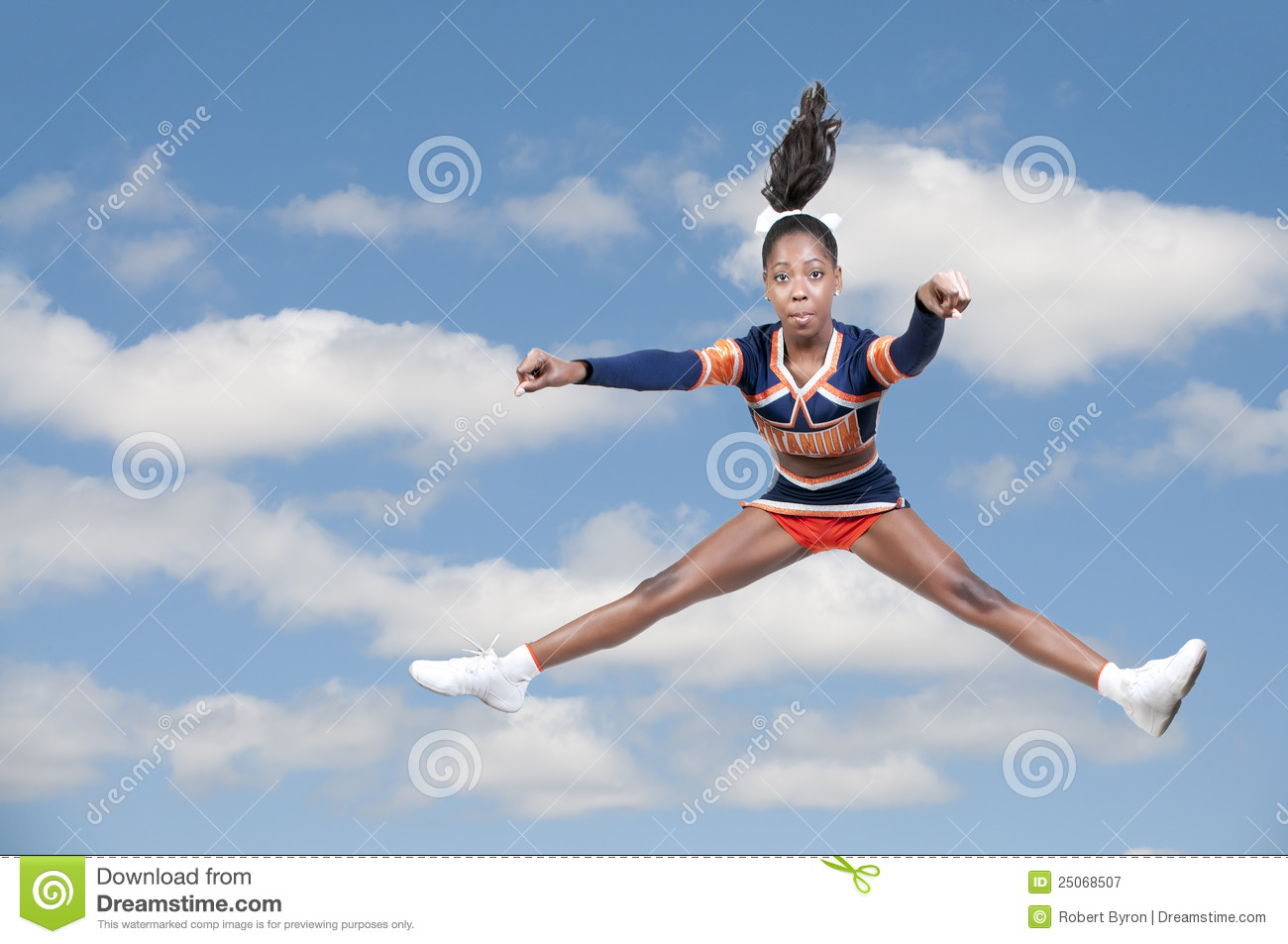 Young teen girl cheerleader thank you
