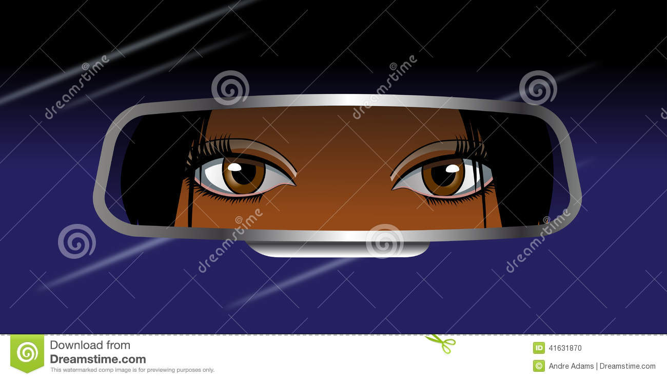 Black Girl Looking Into Rearview Mirror Stock Illustration