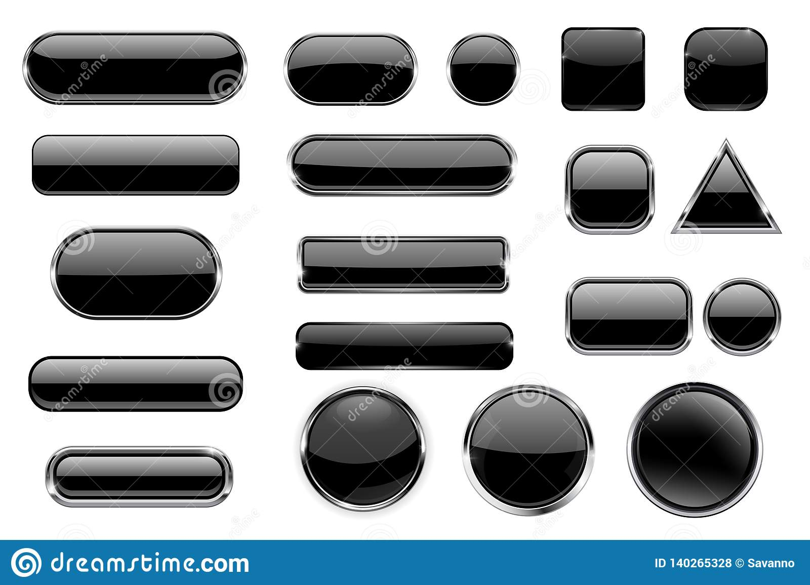 Black glass buttons. Collection of 3d icons with and without chrome frame