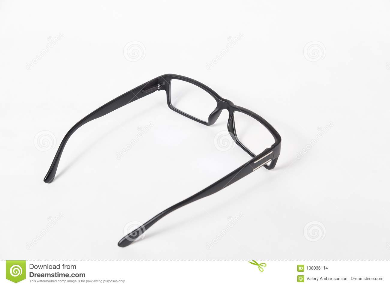 Black Glasses In Plastic Frame With Clear Lenses Stock Photo - Image ...