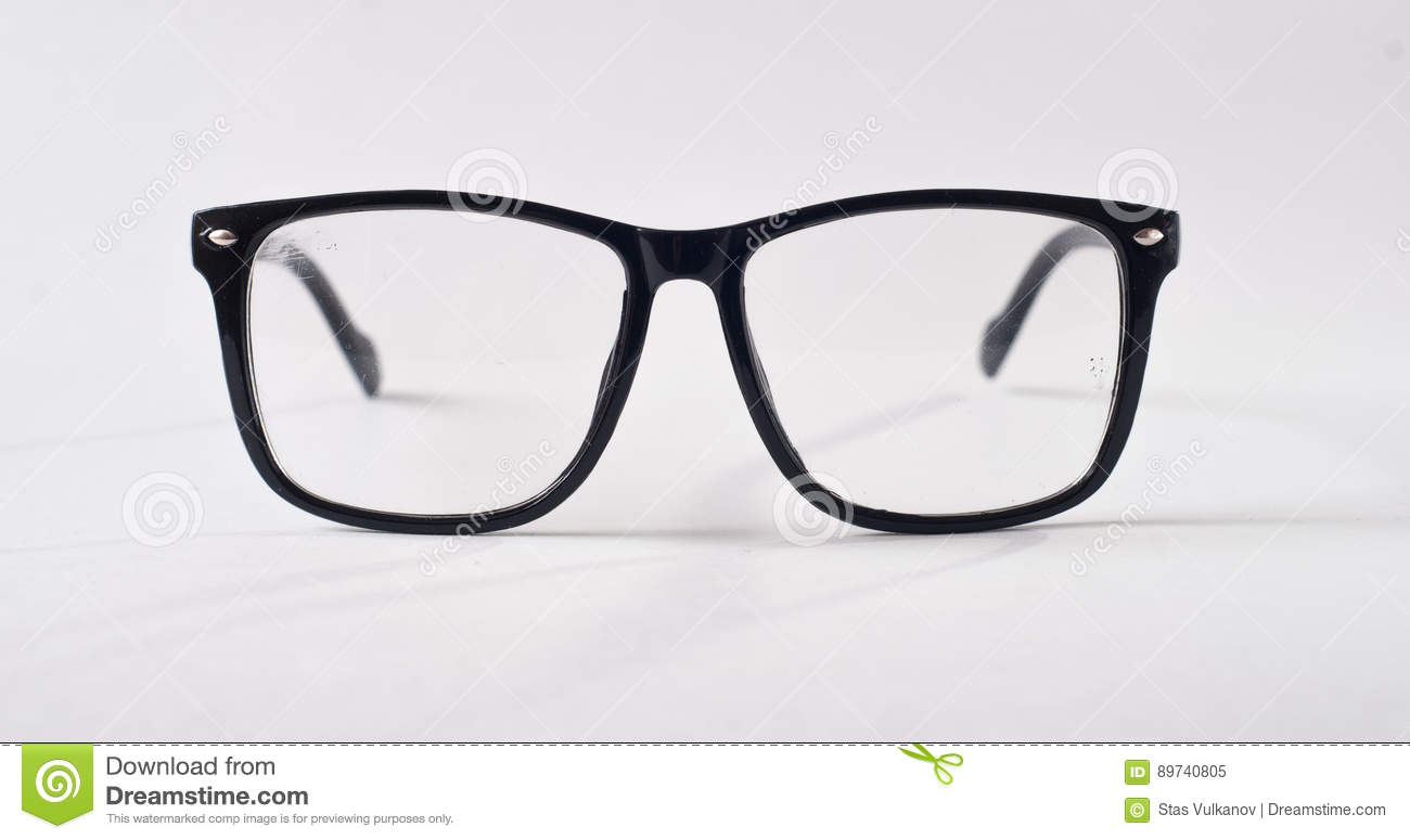 Black Glasses On A White Background, Stock Photo - Image ...