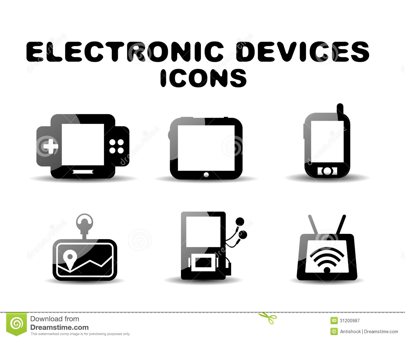 black glossy electronic devices icon set stock vector