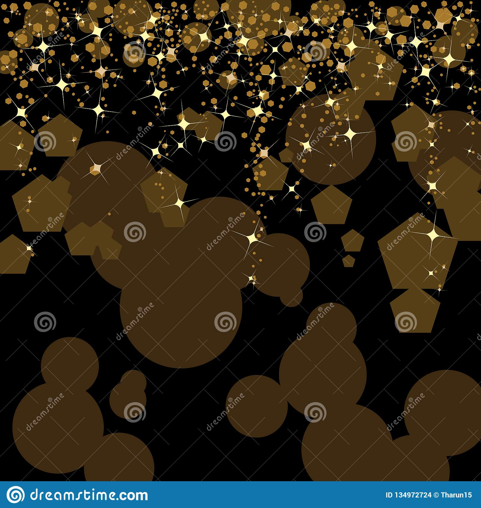 Black And Gold Abstract Background Designed With Stars And