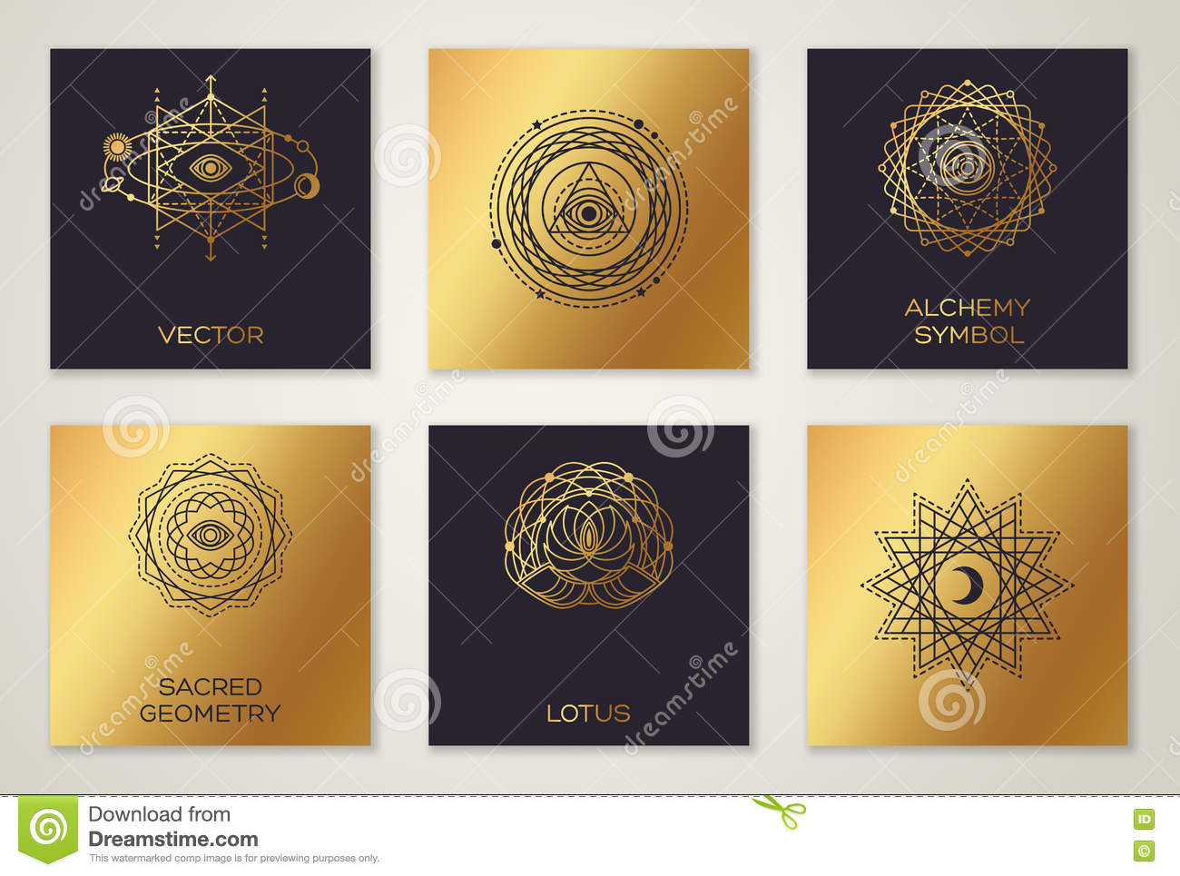 black and gold alchemy symbols stock vector image 76411784