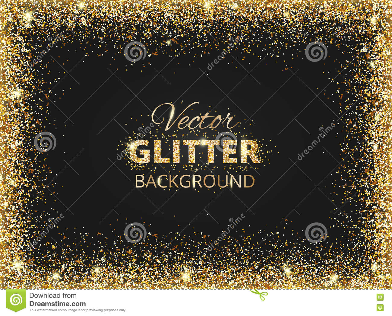 black and gold background with glitter frame stock vector
