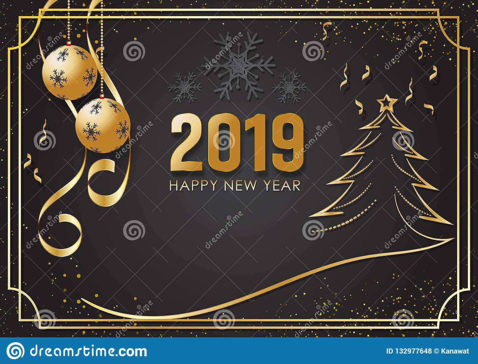 Christmas Season 2019 Black And Gold Background For Happy New Year 2019 And Christmas
