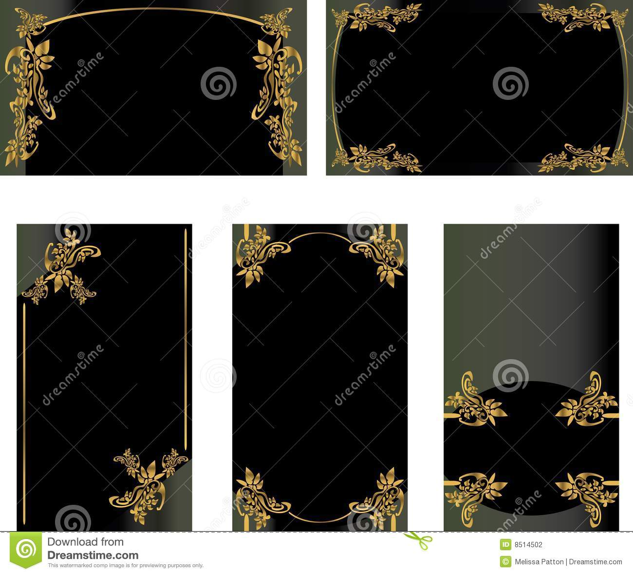 Black Gold Business Card Set 2 Stock graphy Image