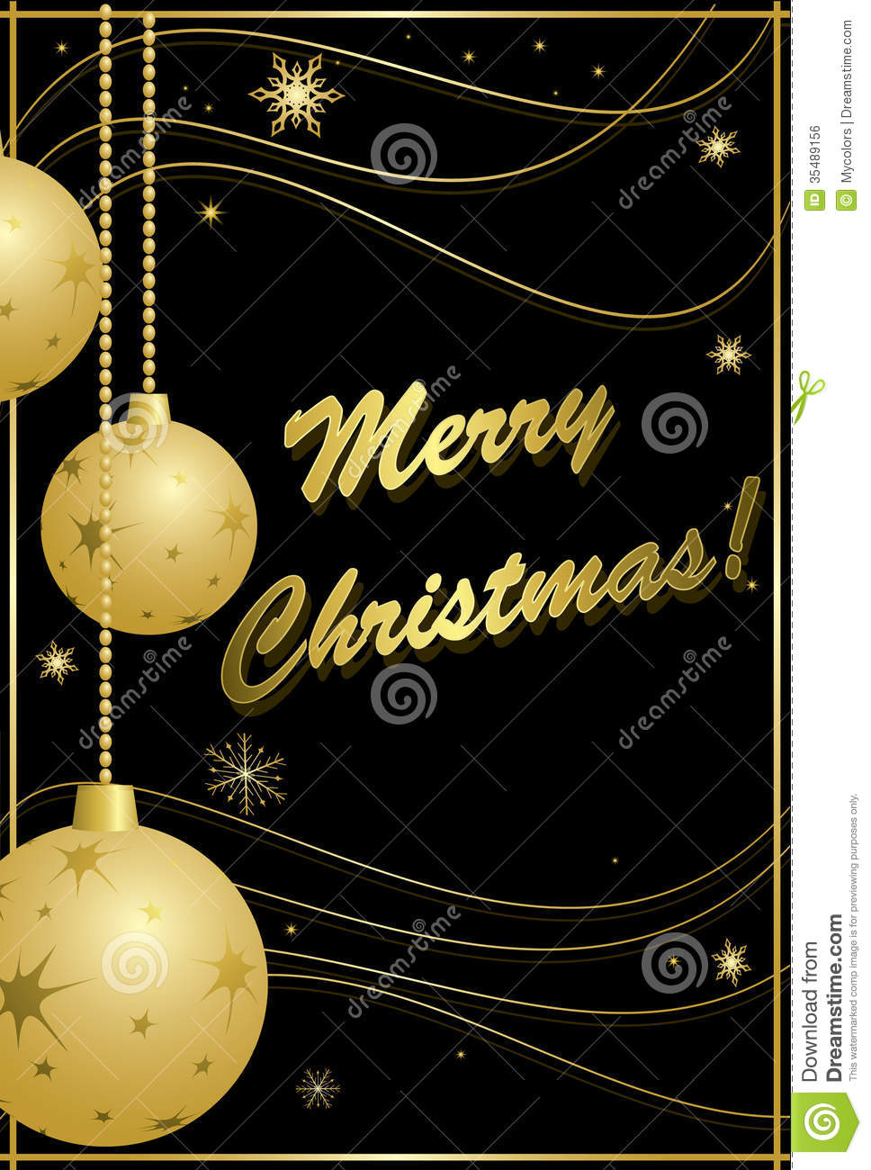 Black And Gold Card For Christmas Vector Royalty Free