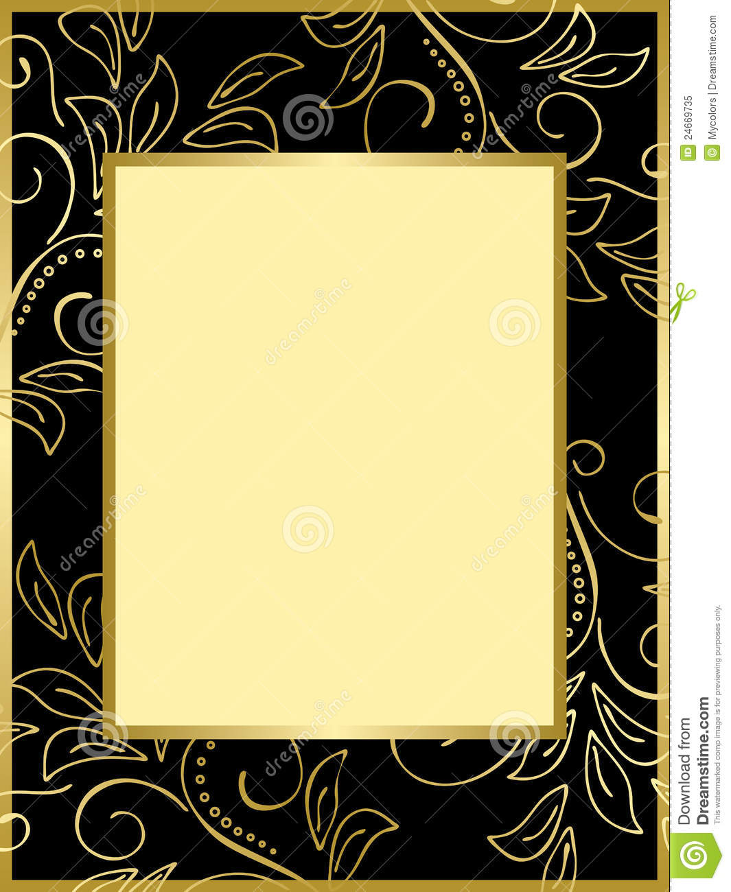 Black And Gold Card With Floral Background Eps Royalty