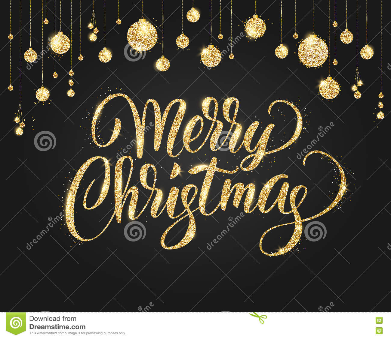 merry christmas card with lettering and glitter decoration black and gold background with hanging christmas balls great for greeting cards party posters