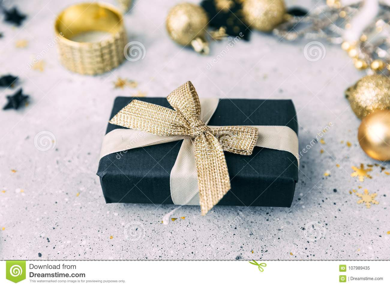 Black And Gold Christmas Decorations Stock Image Image Of Blur